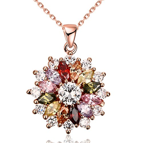 (Winter's Secret Full Bloom Summer Flower Colours Zircon Females Rose Gold Plated Pendant Crystal Necklace)