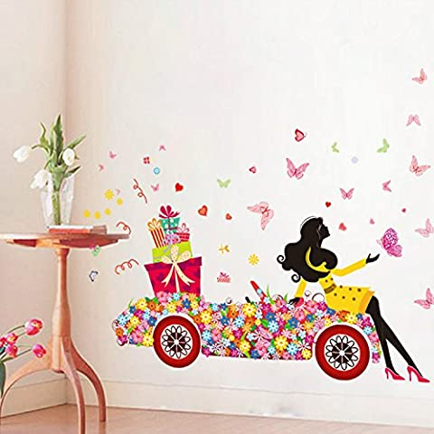 39 x 53 Inch DIY Butterfly Flower Wall Stickers Art for Girl Car Kids Rooms Home Decor Bedroom Living Room Wall Decoration Wall Decals Poster