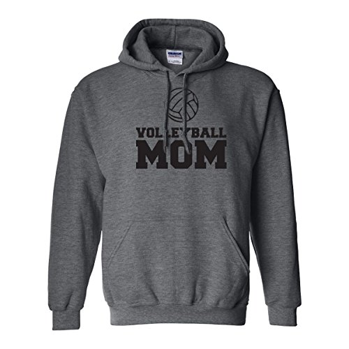 zerogravitee Volleyball Mom Adult Hooded Sweatshirt in Dark Heather with black text - XX-Large
