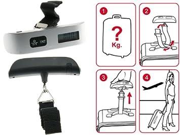 Peso Báscula digital portátil maleta de viaje - Balanza para maletas: Amazon.es: Hogar