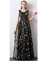 Risestaryiding Women's Formal Dress Flower Embroidery Prom Party Dress Elegant Long Evening Gown