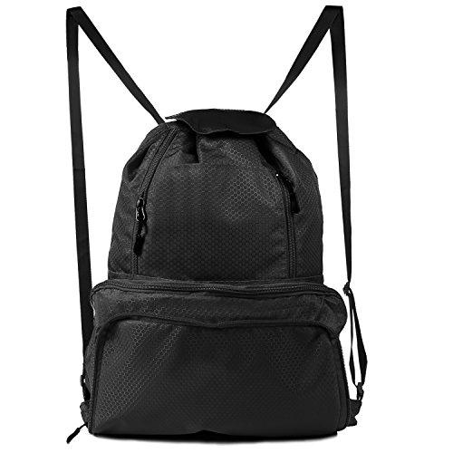 Chnano Drawstring Bag, Foldable Drawstring Backpack Lightweight Sports Gym Bag Unix (Black 2)