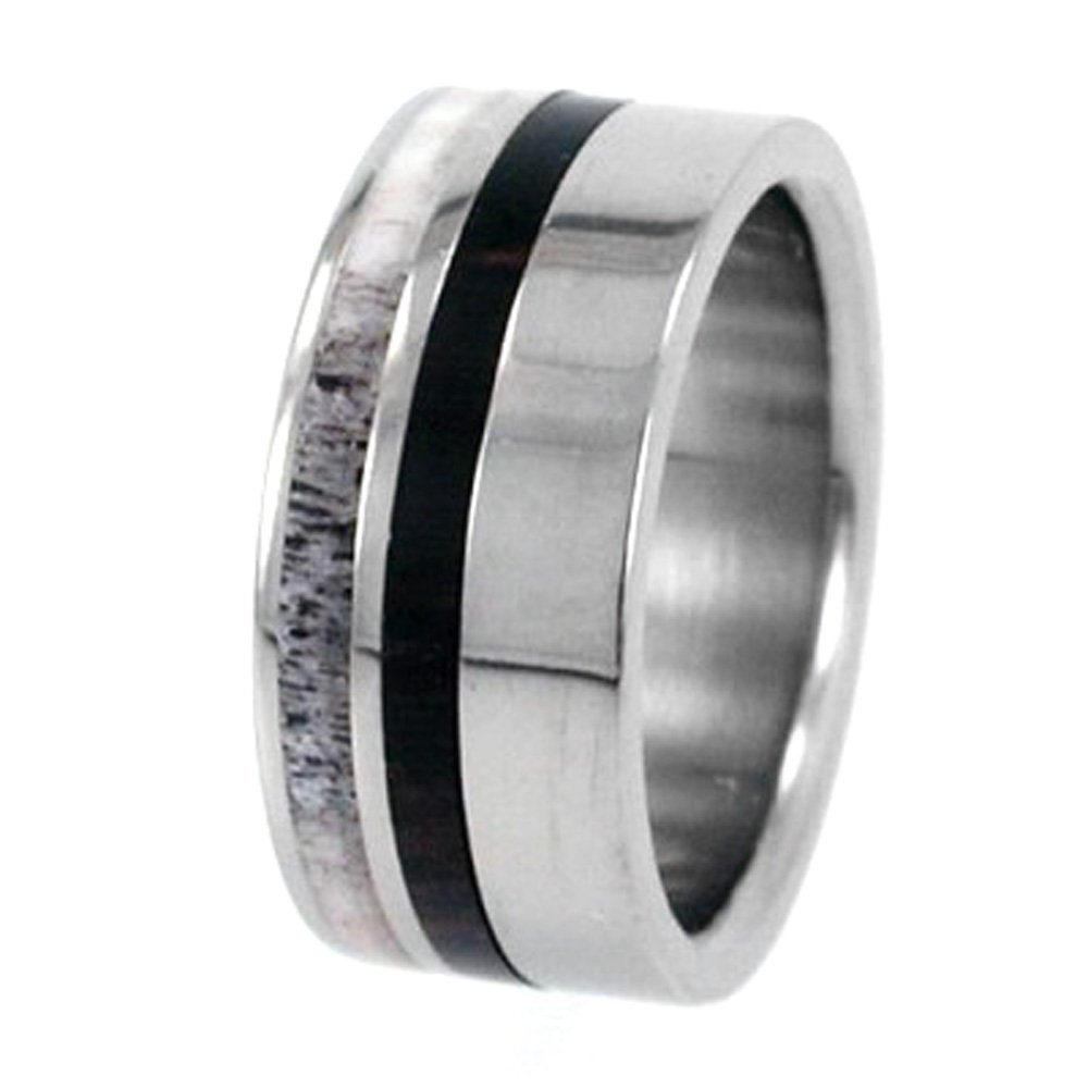 Deer Antler or Wood Stripes 10mm Comfort-Fit Interchangeable Titanium Ring, Size 5.25