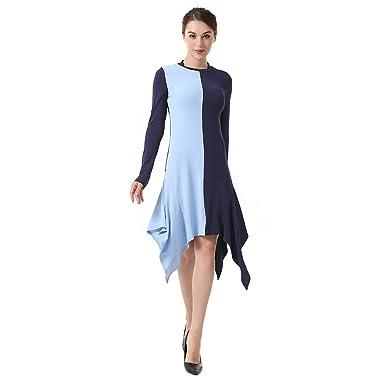 Kleid der Frau Damen Kleider Rundhals Langarm unregelmäßiges ...