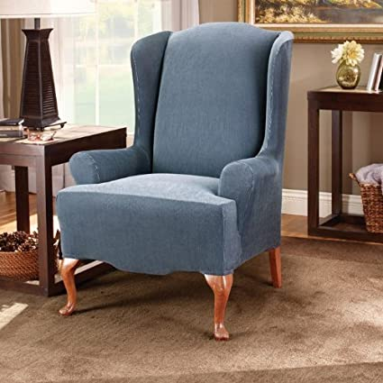Superieur Sure Fit Stretch Stripe   Wing Chair Slipcover   Navy (SF37758)