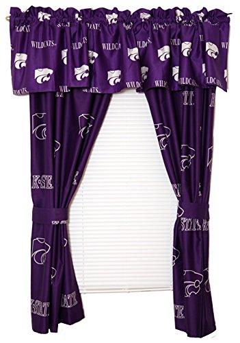 (Kansas State Wildcats - Set of (2) Printed Curtain Valance/Drape Sets (Drape Length 63
