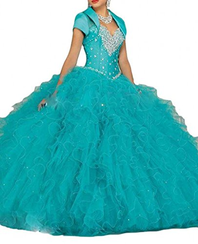 bluee Beilite Women's Organza Quinceanera Dresses with Crystal Ball Gown