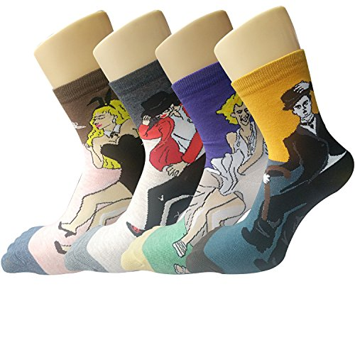 Pack-of-4-Womens-Famous-Painting-Art-Printed-Casual-Cotton-Crew-Socks