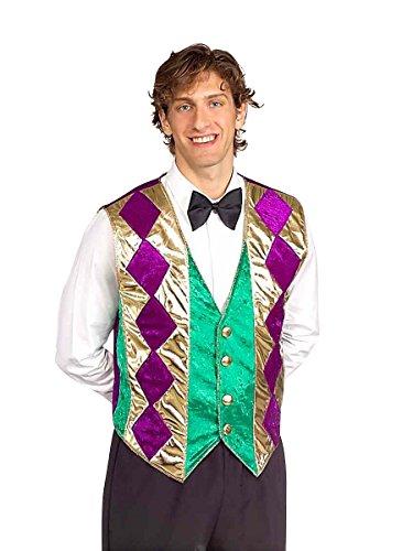 Forum Mardi Gras Vest, Green/Gold/Purple, Adult (Festive Costume)