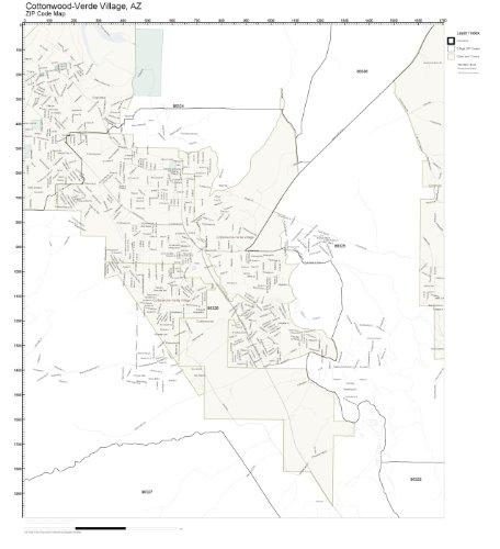 ZIP Code Wall Map of Cottonwood-Verde Village, AZ ZIP Code Map - Village Cottonwood