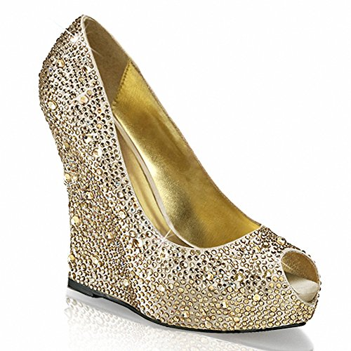 Fabuleuse Isabelle-18 Femmes 5 1/4 Coin, 1 1/4 Plate-forme Cachée Peep Toe Pompe Champagne Satin