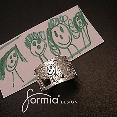 Family Ring- Custom Sterling Silver Ring makes Perfect Gift- Unique and Creative Jewelry Art- Kids Design by Formia®Design