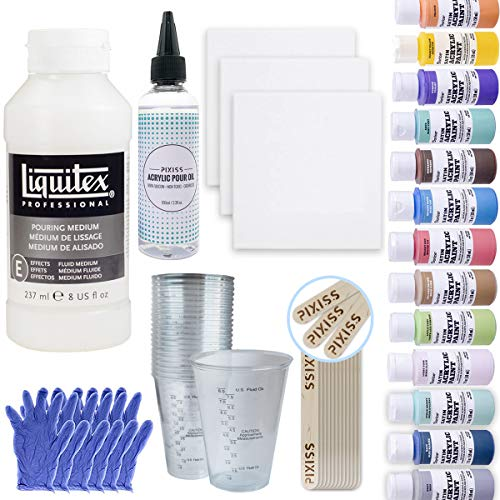 (Pouring Bundle - Liquitex Pouring Medium 8-Ounce, Cups, 16x 2-Ounce Acrylic Paints, 3X 5-inch Canvases, Pixiss Acrylic Pouring Oil, Mixing Sticks, Gloves, Complete Kit for Paint Pouring)