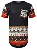 URBANTOPS Mens Hipster Hip Hop Egyptian Dashiki Longline T-Shirt Black, XXL