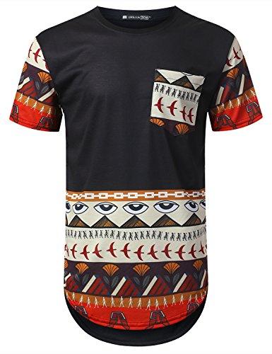 URBANTOPS Mens Hipster Hip Hop Egyptian Dashiki Longline T-shirt Black, XXL