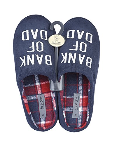 MENS NOVELTY SLIP ON CASUAL FLAT WARM SLIPPERS MULES UK SIZE 7 8 9 10 11 12 Navy ( Bank of Dad ) dmIv3e