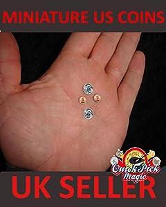 Miniature Coin Magic - Set of 2 Mini Quarters & 2 US Pennies - Mini Coin Set Trick Game