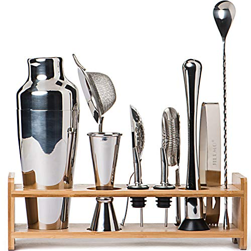 Chrome Bar Caddy - Jillmo Bartender Kit-11 Piece Bar Tool Set with Stylish Bamboo Stand-Professional Cocktail Shaker Set and Bar Tools