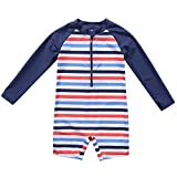 Vegatos Baby Boys Girls Fish One Piece Rash Guard Long Sleeve Bathing Suits ,Stripe,3-6 Months