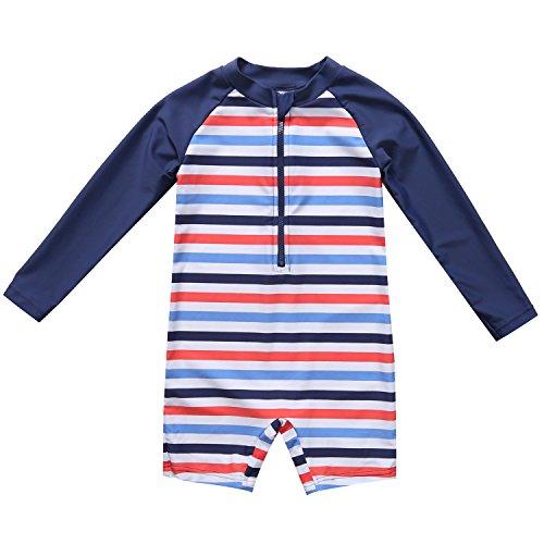 Vegatos Baby Boys Girls Fish One Piece Rash Guard Long Sleeve Bathing Suits ,Stripe,3-6 Months