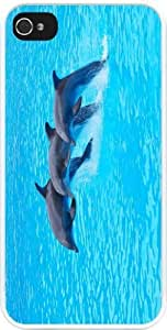 Rikki KnightTM Dolphin Trio in water Design iPhone 5 & iPhone 5s Case Cover (White Rubber with bumper protection) for Apple iPhone 5