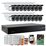 GW Security 16-Channel HD-AHD/TVI DVR Complete Security System with (16) x True HD 1080P Outdoor/Indoor Bullet Security Cameras and 4TB HDD, QR Code Scan Free Remote View For Sale