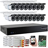 GW Security 16-Channel HD-AHD/TVI DVR Complete Security System with (16) x True HD 1080P Outdoor/Indoor Bullet Security Cameras and 4TB HDD, QR Code Scan Free Remote View