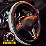 Sino Banyan Girly Diamond Bling Steering Wheel Cover with a Bling Ring,No hands Scraping,15 Inch Black & Silver