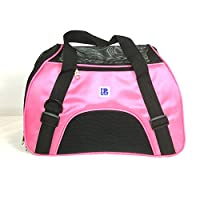 "IrisPets Pet Airline Travel Approved Airport Pet Carrier, Soft Sided Portable Folding Under Seat Air Travel Pet Carriers Bag for Dogs/Cats Small Animals - Large (19""L9.5""W12""H), Pink"