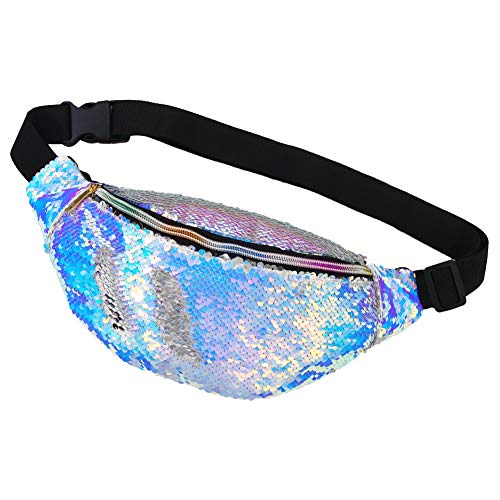 MHJY Fanny Pack,Mermaid Sequin Fanny Pack Waist Bag Color Changing Glitter Belt Waist Bags Saprkly Sling Bag for Party Festival Outdoor Sports