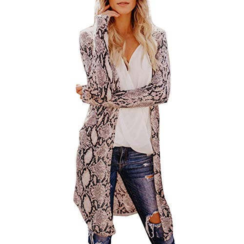 Coat for Womens, FORUU Clover Ladies Sales 2019 Under 10 Best Gift for Girlfriend Fashion Sexy Long Sleeves Leisure Snake Print V-Neck Long Cardigan Coat