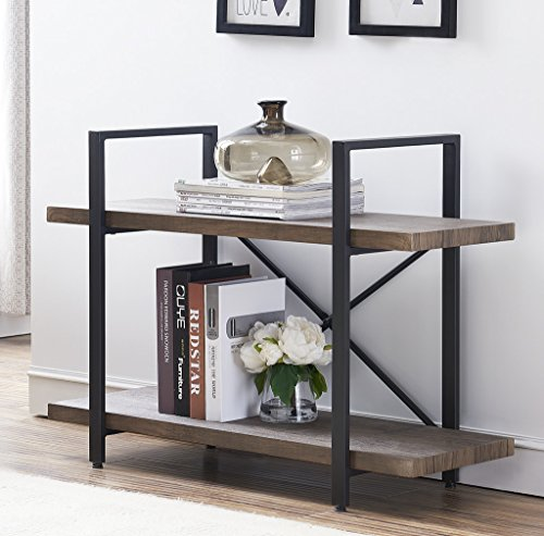 O&K Furniture 2-Shelf Vintage Industrial Bookcase, Display Rack Stand Storage Shelving Unit, Gray-Brown (Decor Home)