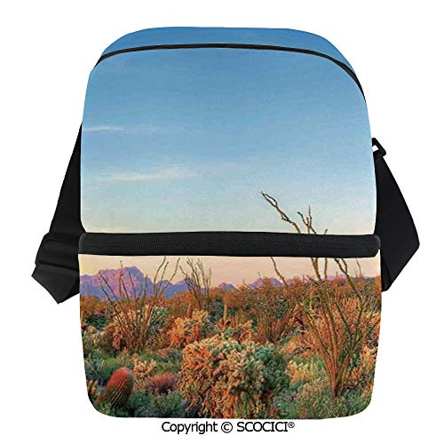 SCOCICI Collapsible Cooler Bag Sun Goes Down in Desert Prickly pear Cactus Southwest Texas National Park Insulated Soft Lunch Leakproof Cooler Bag for Camping,Picnic,BBQ