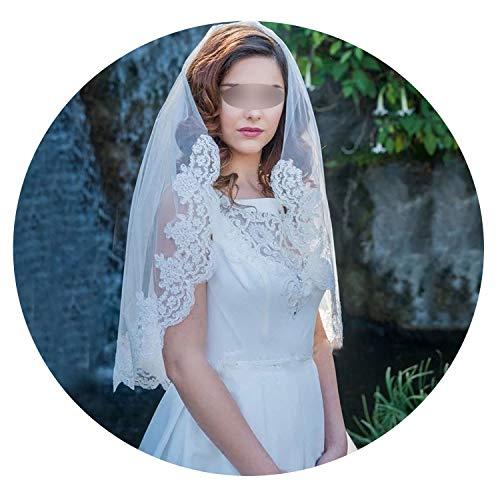 2019 Short Wedding Veils Tulle Lace Applique edge Bridal veils accessorie White Ivory vow de noiva Veil Wedding Lace Short,WHITE]()