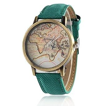 Buy shocknshop mini world map unisex stylish denim casual wrist shocknshop mini world map unisex stylish denim casual wrist watch green gumiabroncs Images