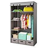 HOME BI Portable Clothes Closet Wardrobe, Non-Woven Fabric Clothes Closet Storage for Clothes for Clothes with 3 Drawers, Large Space, Easy to Assemble, 41.34L x 17.72W x 62.3H (Grey)