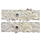 Yiweir Bridal Wedding Accessory Garter With Lace Appliques Pearls Rhinestones
