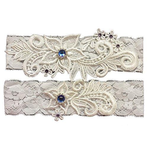Yiweir Lace Wedding Garters for Bride Blue Rhinestones Stretch Prom Garter