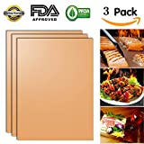 Copper Grill Mat (Set of 3) Non-Stick BBQ Grill &Baking Mats for Gas, Charcoal, Electric Grill Sheet - Extended Warranty - 15.75 x 13 Inch