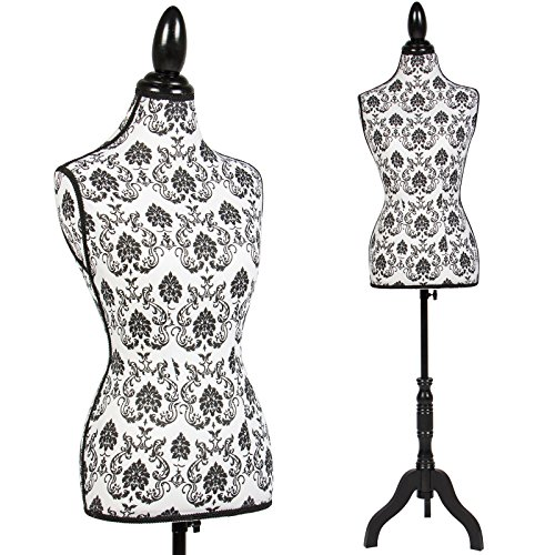 female-mannequin-torso-dress-form-display-w-black-tripod-stand-designer-pattern-by-discoverysun