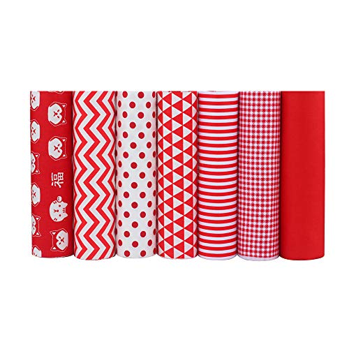 ShuanShuo Coffer Series Cotton Fabric Quilting Patchwork Fabric Fat Quarter Bundles Fabric for Sewing DIY Crafts Handmade Bags 40X50cm 8pcs/lot (Red)