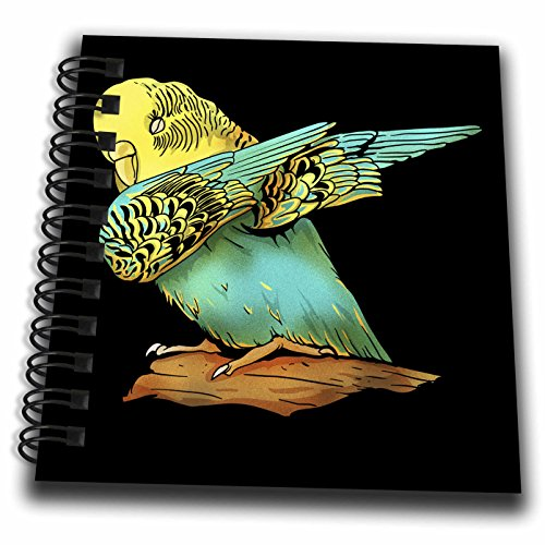 Small Twin Loop - 3dRose Sven Herkenrath Animal - Drawing of a Cute Budgie on a Branch Black Background - Mini Notepad 4 x 4 inch (db_281701_3)