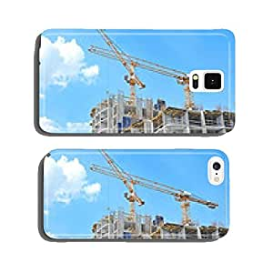 Crane and building construction site against blue sky cell phone cover case iPhone6 Plus