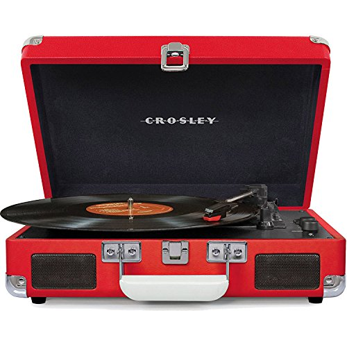 Crosley Cruiser Deluxe Vintage 3-Speed Bluetooth Suitcase Turntable, Red