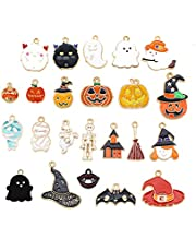 Alloy Halloween Charms, 23 Pcs Different Shaped Pumpkin Cute GhostPendant Use for DIY Jewelry Making, Necklace Making, Bracelet, Key Chain, Artware, Mobile Phone Decoration Accessories(Mixed Color)