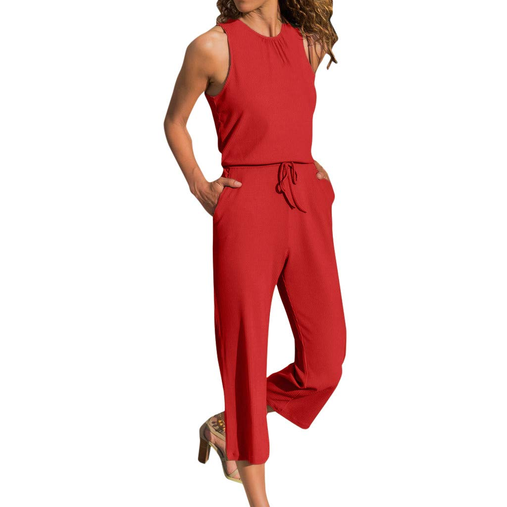 Huarll Womens Simple Solid Color Hanging Neck Sleeveless Wide Leg Long Pants Casual Loose Halter Jumpsuit Playsuit
