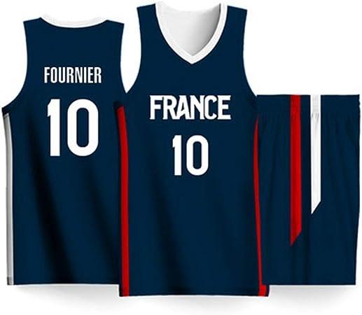Jerseys de baloncesto del equipo de Francia Evan Fournier # 10, camiseta de baloncesto Swingman, conjunto de pantalones cortos sin mangas de 2 piezas, Copa Mundial de Baloncesto 2019,4XL(195~200)CM: Amazon.es: Hogar