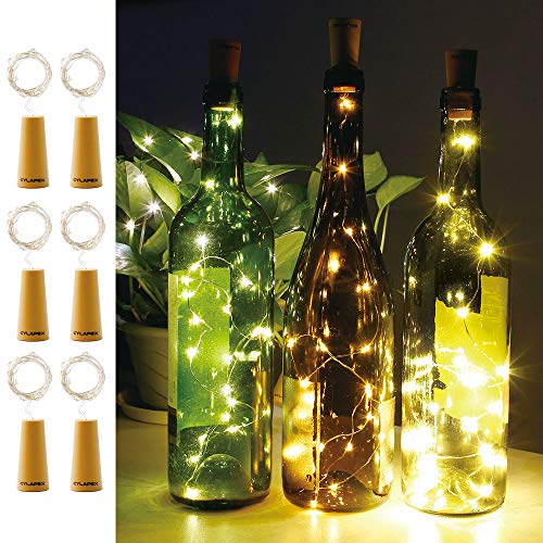 CYLAPEX Pack of 6 Wine Bottle Lights with Cork, 20 LED Wine Bottle with Lights on Copper Wire, LED Cork Lights for DIY of LED Decoration, Wedding Centerpiece, Party, Christmas, Halloween, (Warm White) ()
