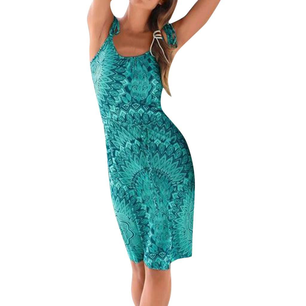Kleid Damen Mode Frauen Beiläufiges Böhmen Druckte Ärmellose Maxi Partei Strandkleid Sommerkleid Frau Beiläufig Gedruckt Ärmellos Party Ärmelloses Böhmisches Printkleid Drucken Kleiden