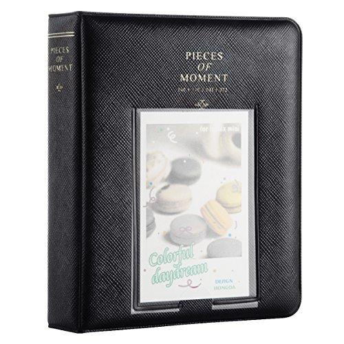 CAIUL Compatible Pieces of Moment Book Album for Fujifilm Instax Mini 8 8+ 9 7s 70 90 25 26 50s, Instax SP-2, Polaroid PIC-300 Z2300 Films (64 Photos, Black)